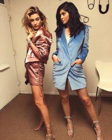kylie-jenner-instagram-barbara-bui-pre-fall-2016-soft-blue-velvet-blazer-dress-and-monika-chiang-vesta-sandals-in-silver-mesh-calf-4